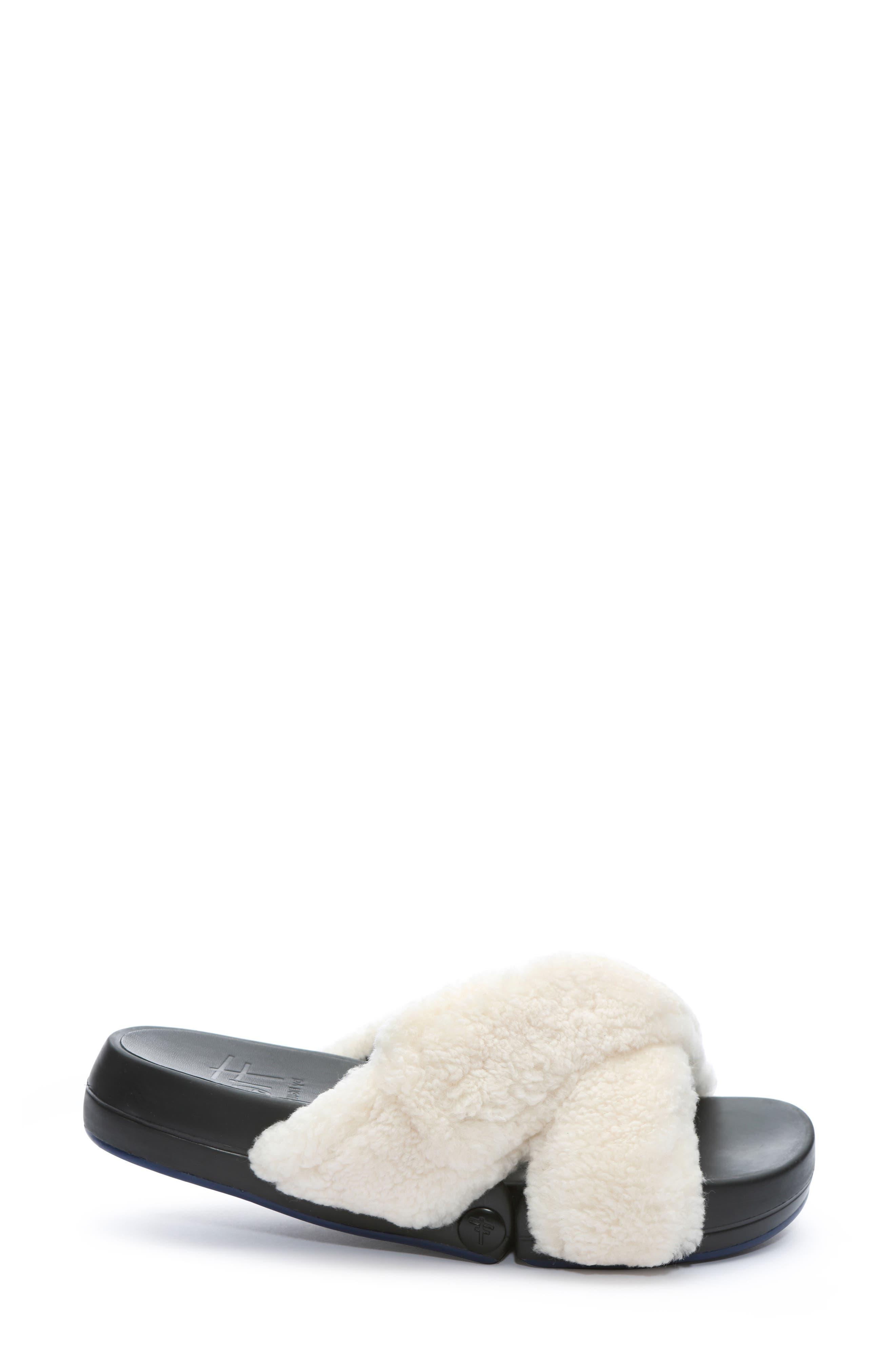 ,                             Figomatic Genuine Shearling Slide Sandal,                             Alternate thumbnail 3, color,                             NUDE SHEARLING