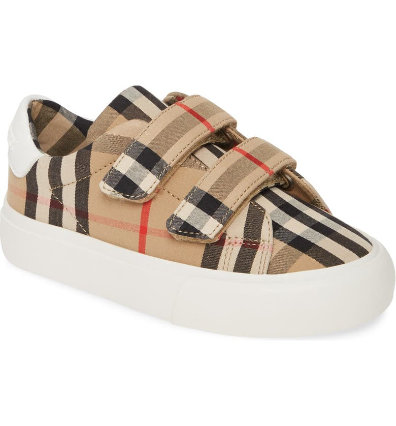 BURBERRY Mini Markham Check Sneaker, Main, color, ARCHIVE BEIGE/WHITE