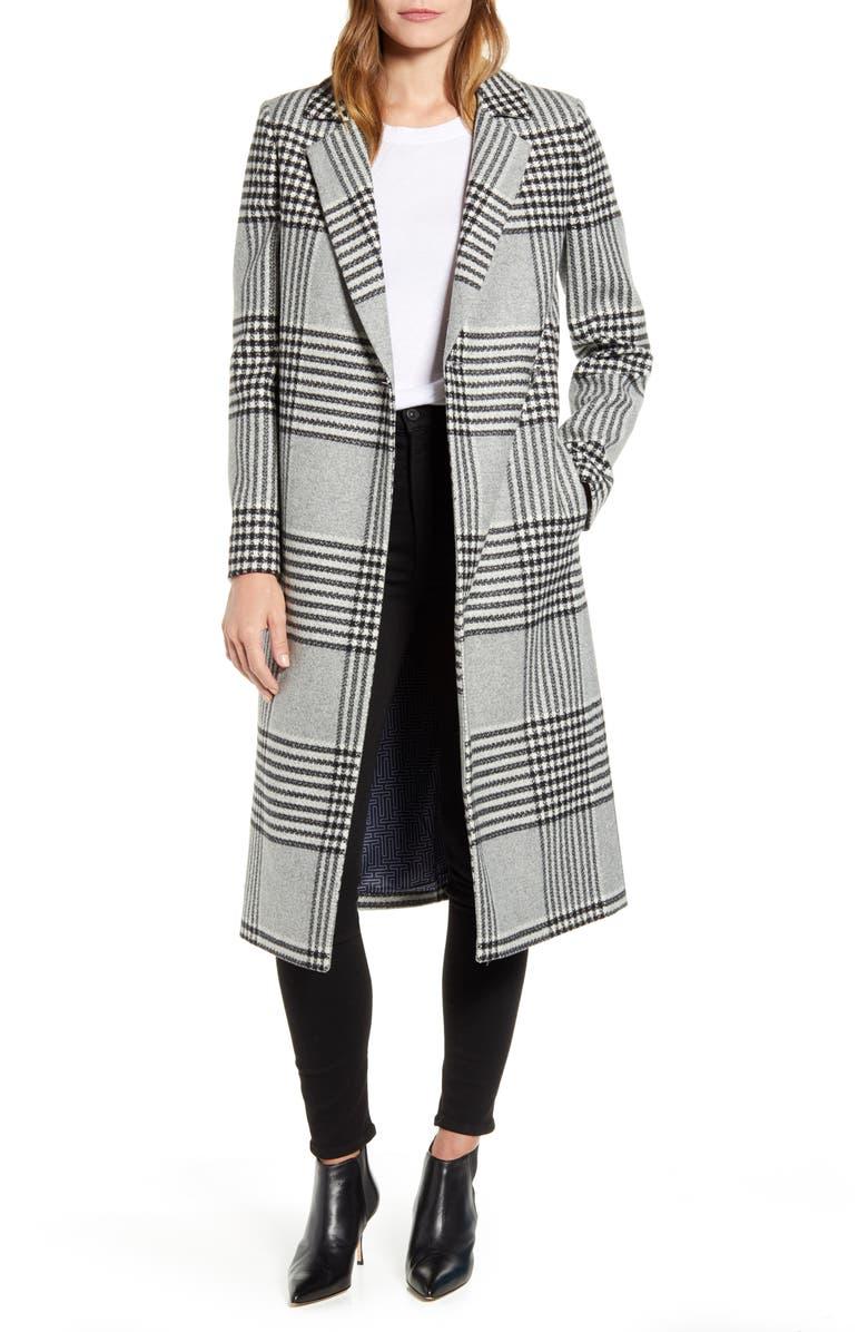 TED BAKER LONDON Celinna Plaid Wool Blend Long Coat, Main, color, BLACK