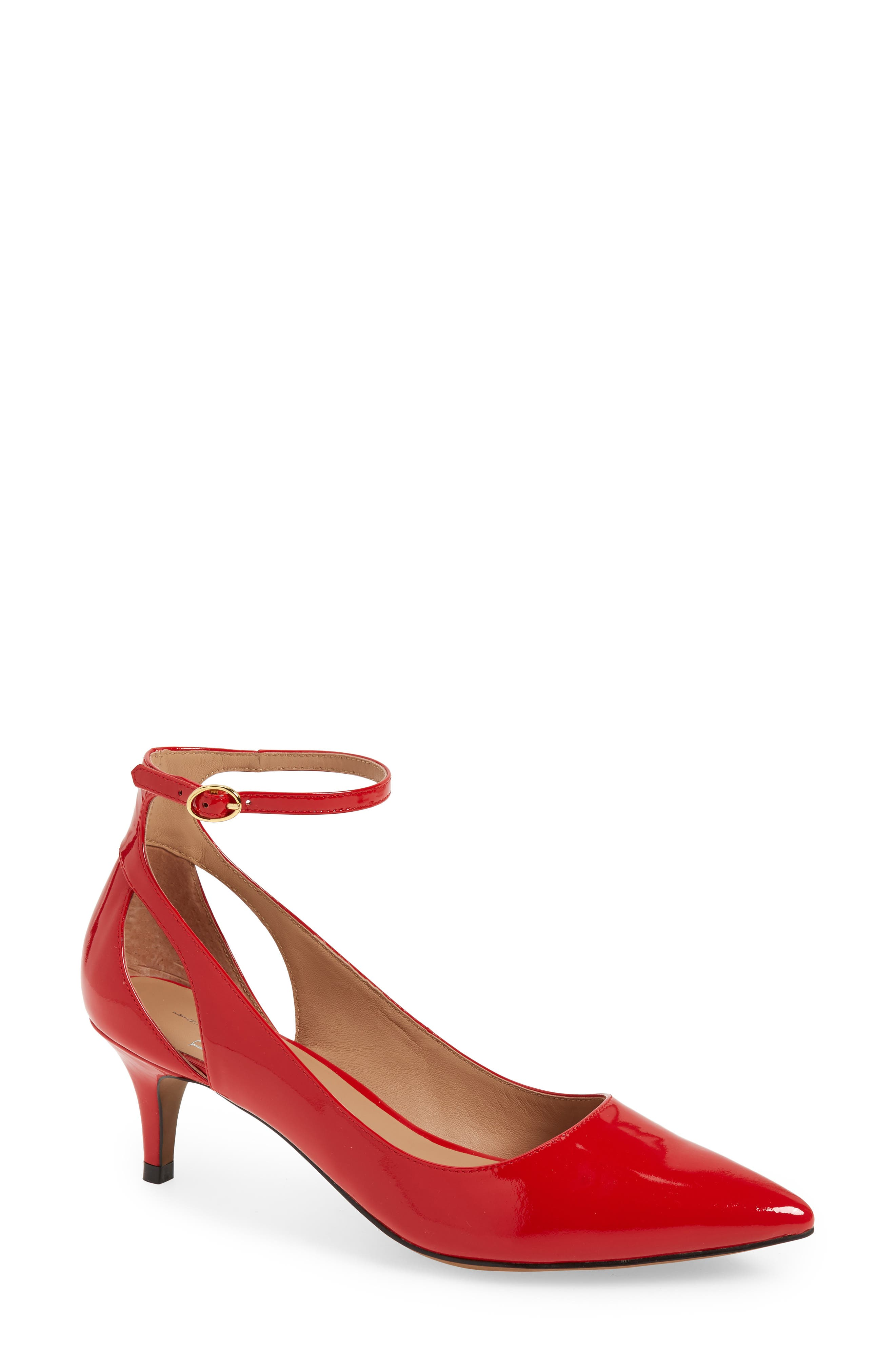 Linea Paolo Carrie Ankle Strap Pump, Red