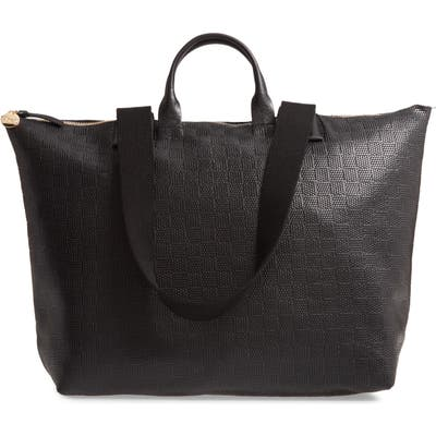 Clare V. Le Zip Sac Embossed Leather Tote - Black