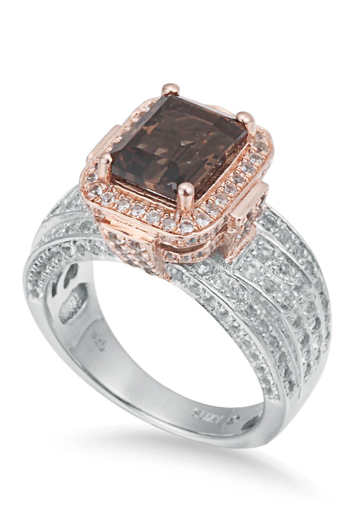 Image of Suzy Levian Sterling Silver Smoky Quartz Ring