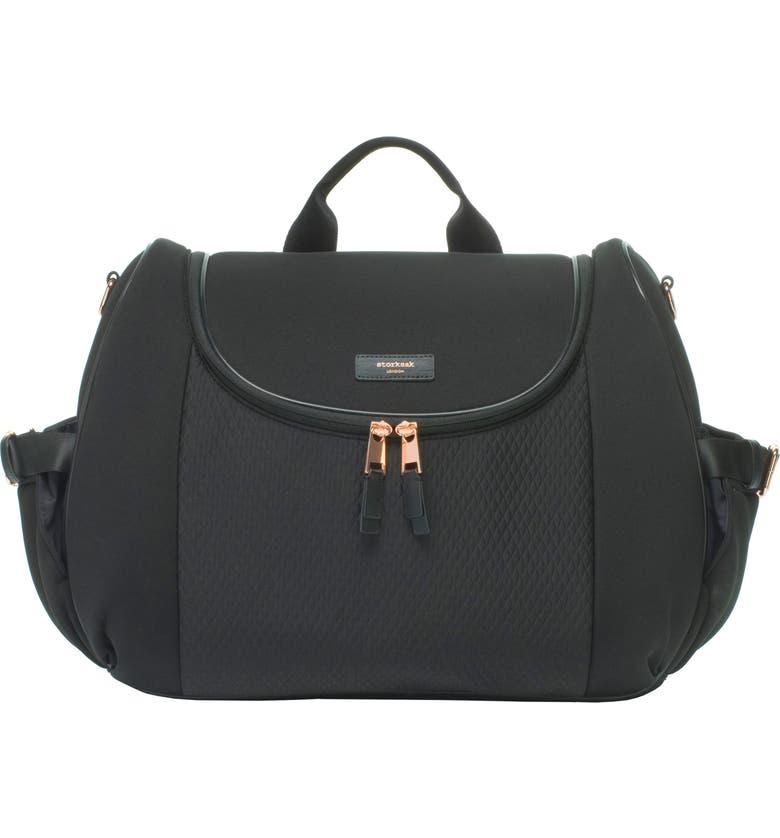 STORKSAK Poppy Lux Convertible Diaper Bag, Main, color, SCUBA BLACK