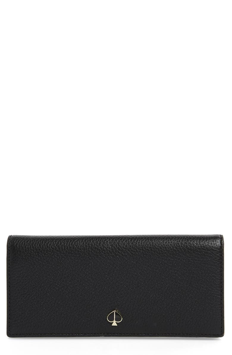 KATE SPADE NEW YORK polly leather bifold wallet, Main, color, 001