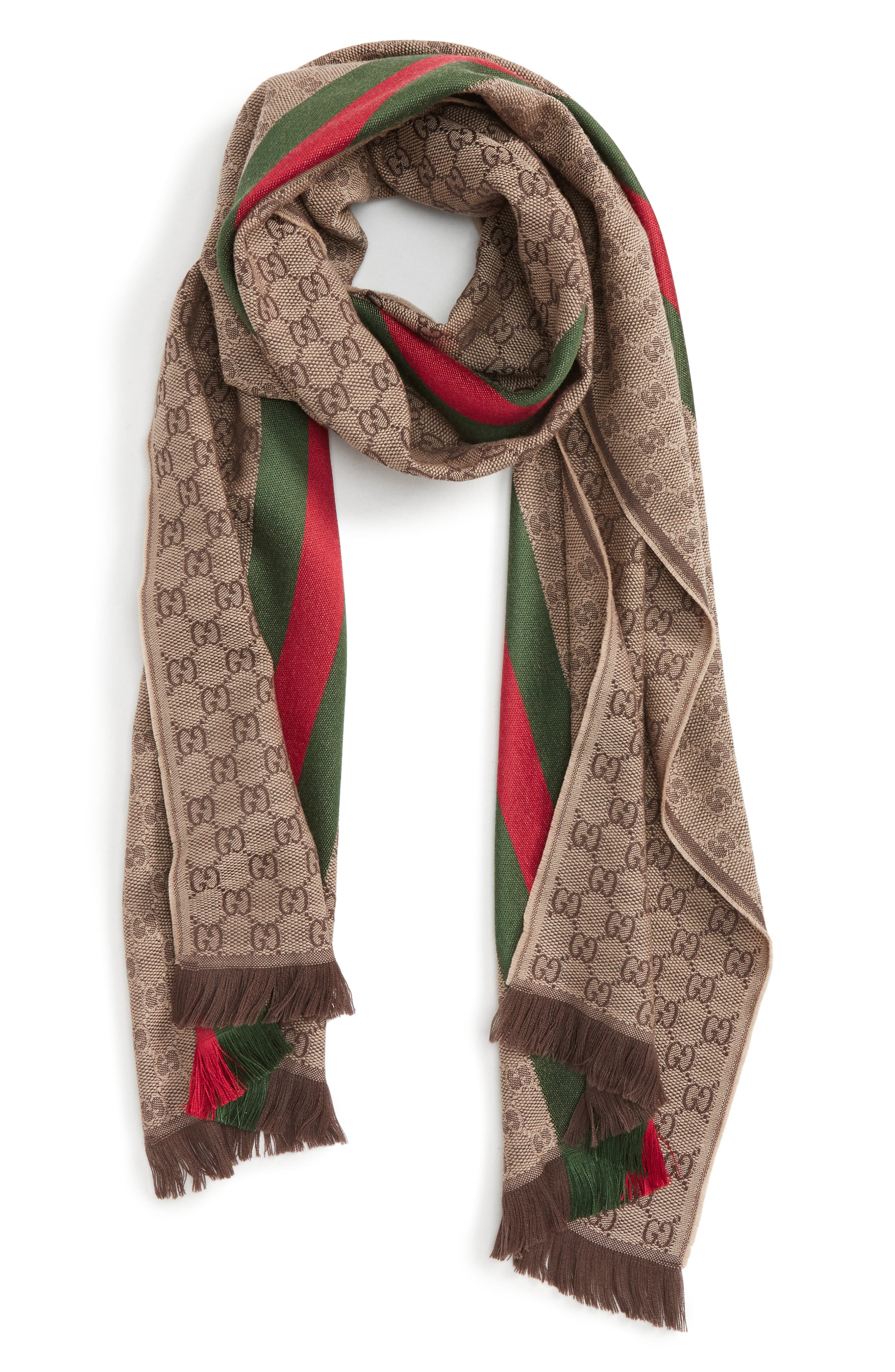 ,                             Verbier Wool & Silk Scarf,                             Main thumbnail 1, color,                             LIGHT BROWN/ DARK GREEN