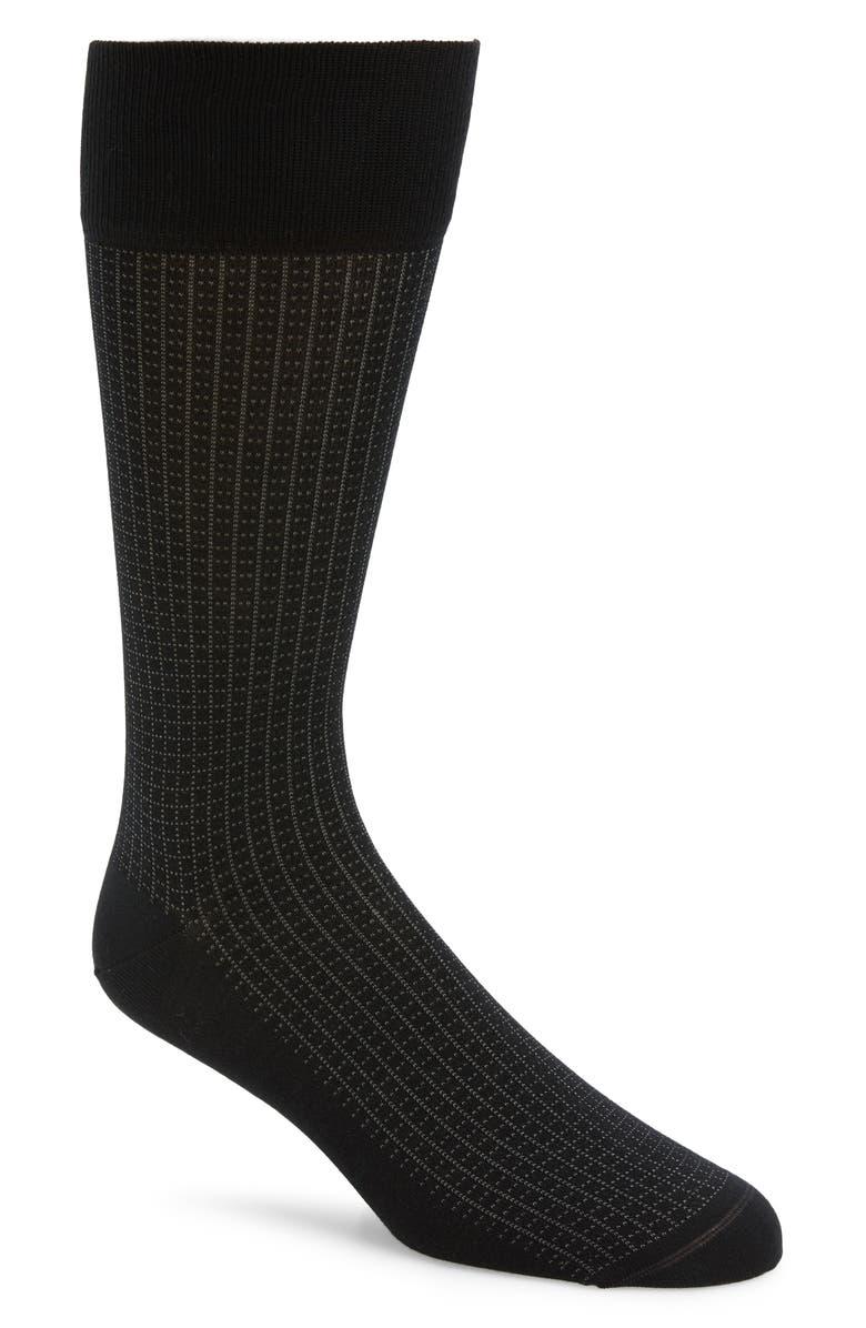 NORDSTROM SIGNATURE Grid Socks, Main, color, BLACK/ GREY