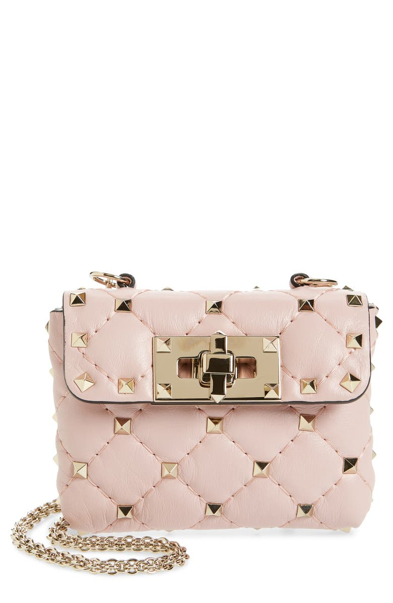 VALENTINO GARAVANI Mini Rockstud Spike Lambskin Leather Wallet on a Chain, Main, color, WATER ROSE