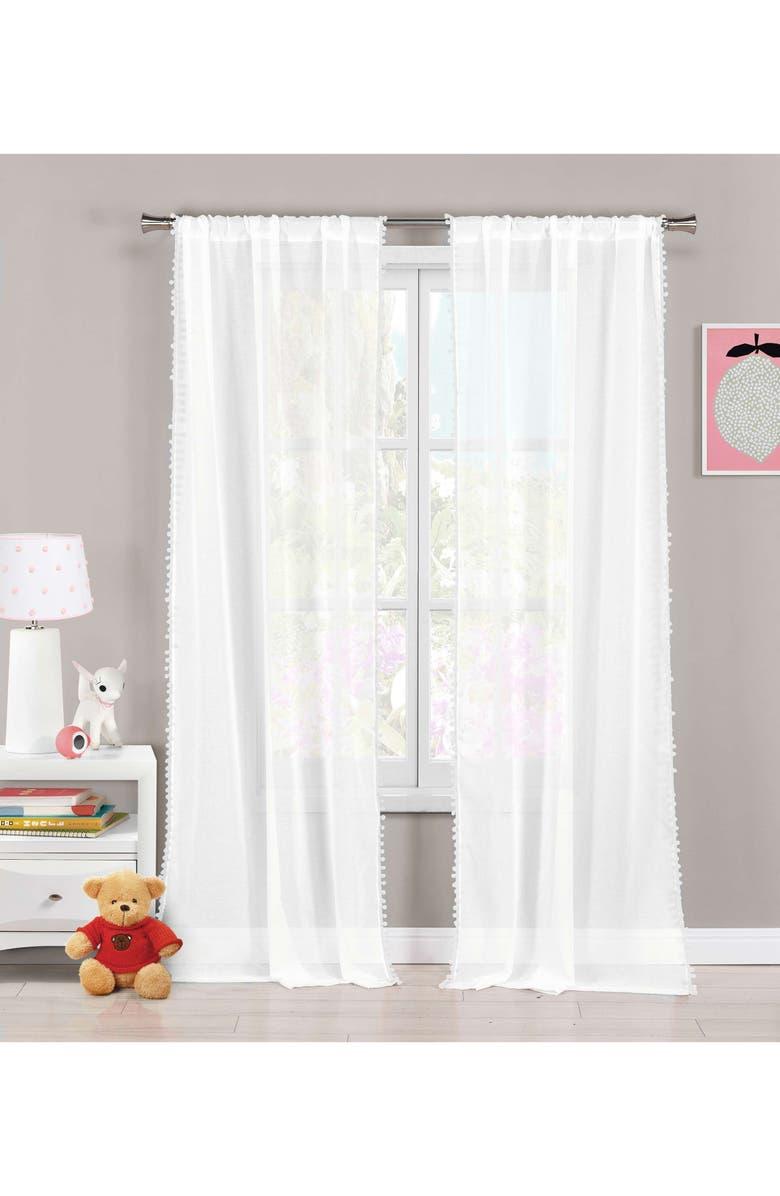 LALA + BASH Aveline Pom Trim Curtain Panels, Main, color, WHITE