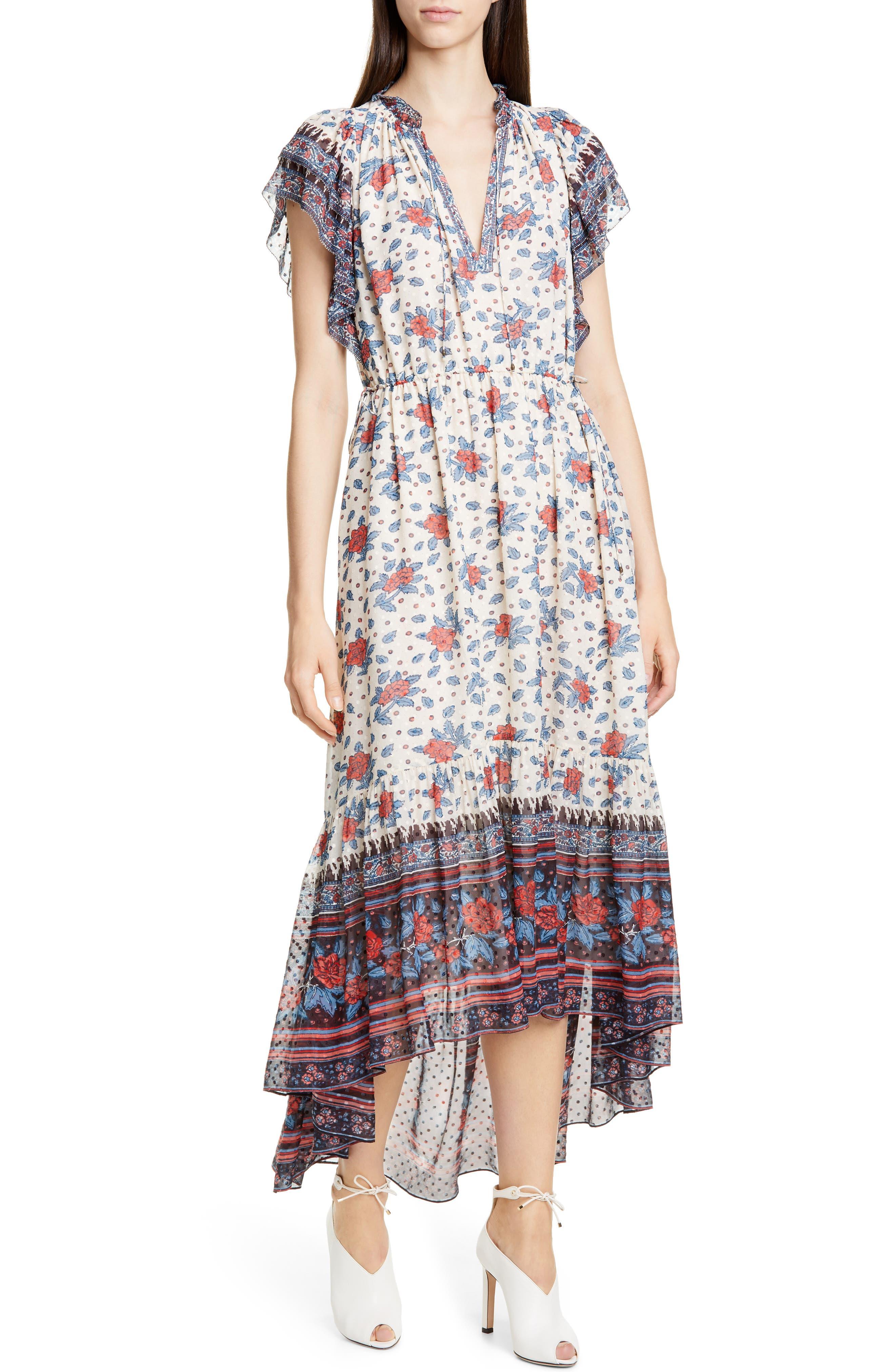 Ulla Johnson Reese Silk Blend Jacquard High/low Dress, White
