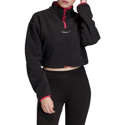 Adidas Originals Polar Fleece Half Zip Crop Pullover, Black