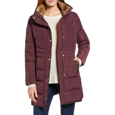 Cole Haan Quilted Down & Feather Fill Jacket With Faux Fur Trim, Burgundy