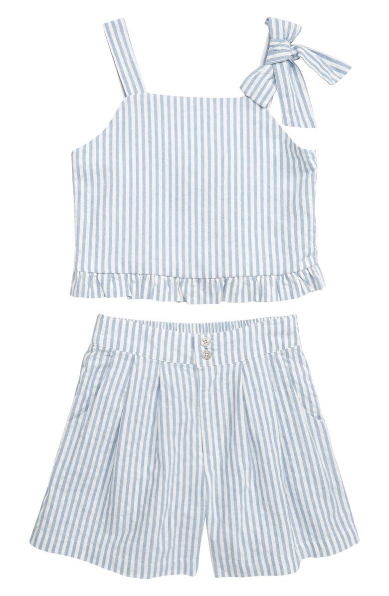 HABITUAL Luciana Stripe Crop Top & Shorts Set, Main, color, STRIPE