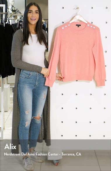 Crewneck Sweater with Jeweled Buttons, sales video thumbnail