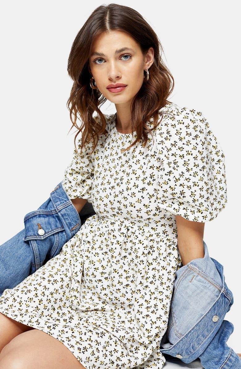 Ditsy Floral Puff Sleeve Babydoll Minidress