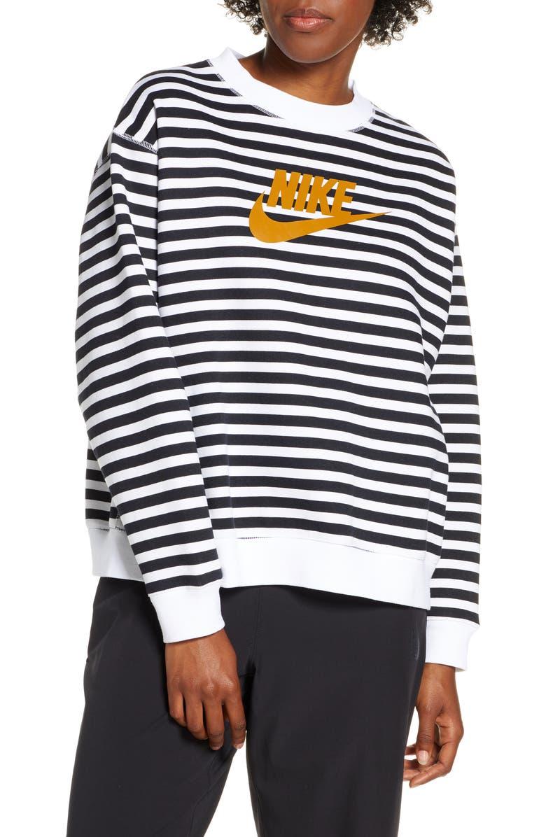 NIKE Sportswear Logo Crewneck Sweatshirt, Main, color, WHITE/ BLACK