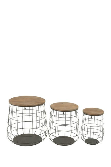Image of Willow Row Wire Caged Wood Covered Basket - Set of 3