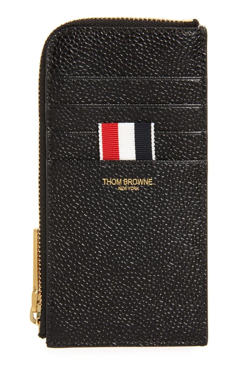 THOM BROWNE Zip Around Pebbled Leather Wallet, Main, color, BLACK