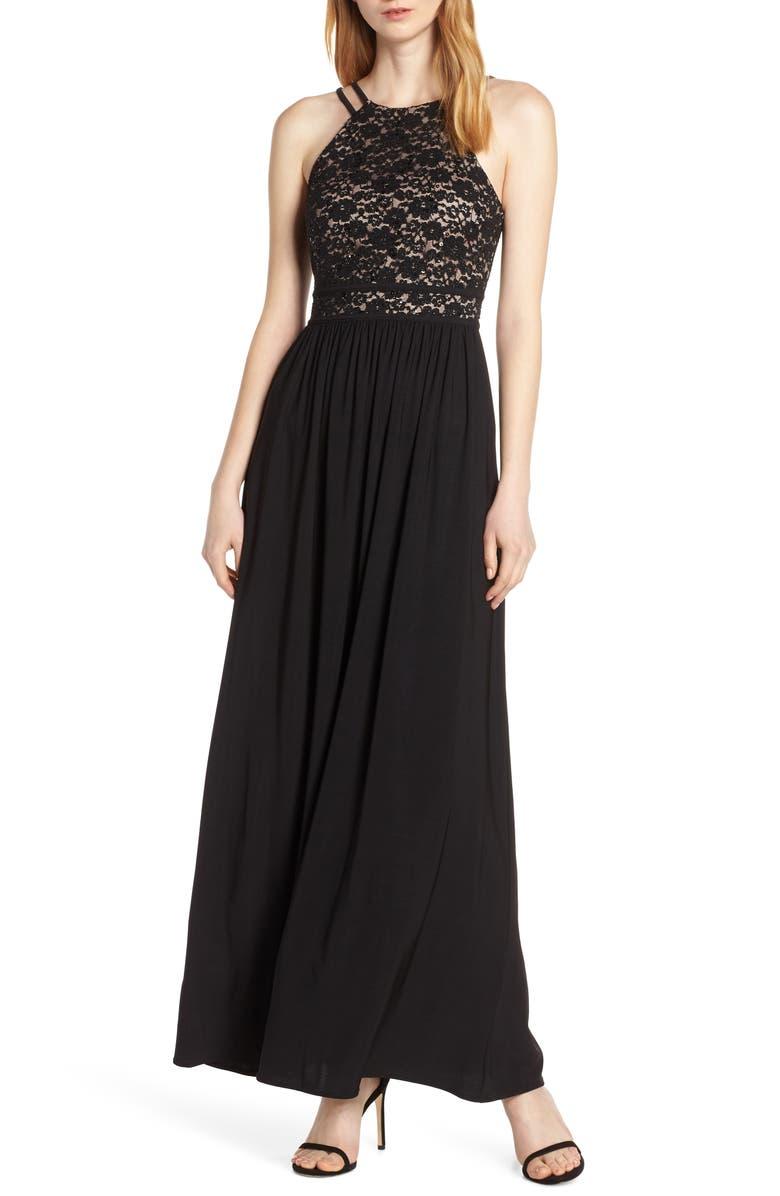 MORGAN & CO. Lace & Chiffon A-Line Gown, Main, color, 001