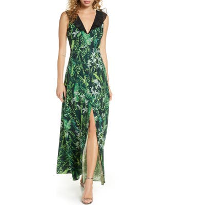 Foxiedox Print Ruffle V-Neck Evening Gown, Green
