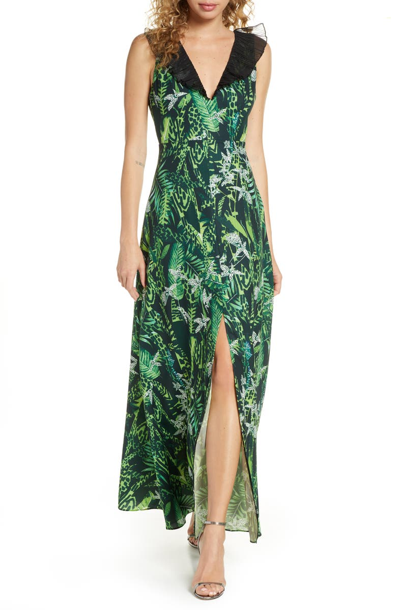 FOXIEDOX Print Ruffle V-Neck Evening Gown, Main, color, GREEN MULTI
