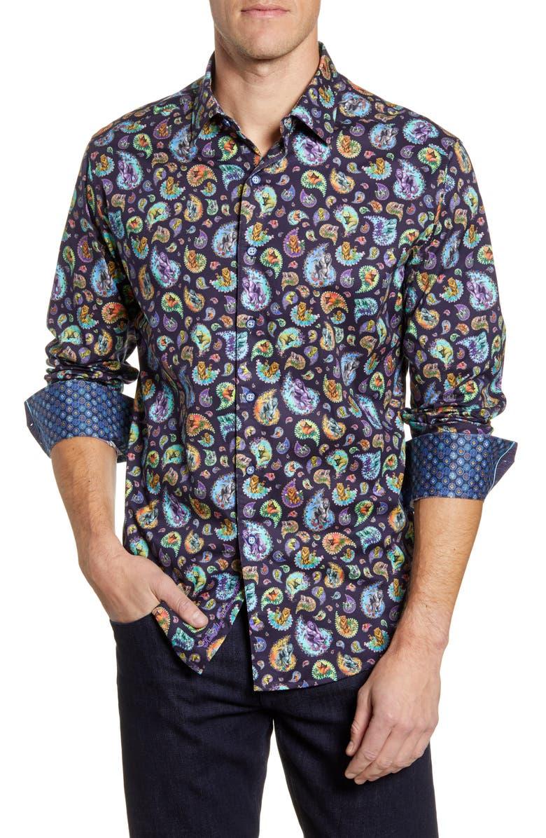 ROBERT GRAHAM Animal Classic Fit Button-Up Sport Shirt, Main, color, MULTI