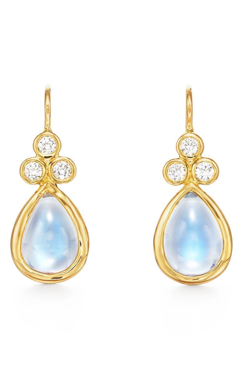 TEMPLE ST. CLAIR Pear Moonstone & Diamond Drop Earrings, Main, color, YELLOW GOLD/ BLUE MOONSTONE