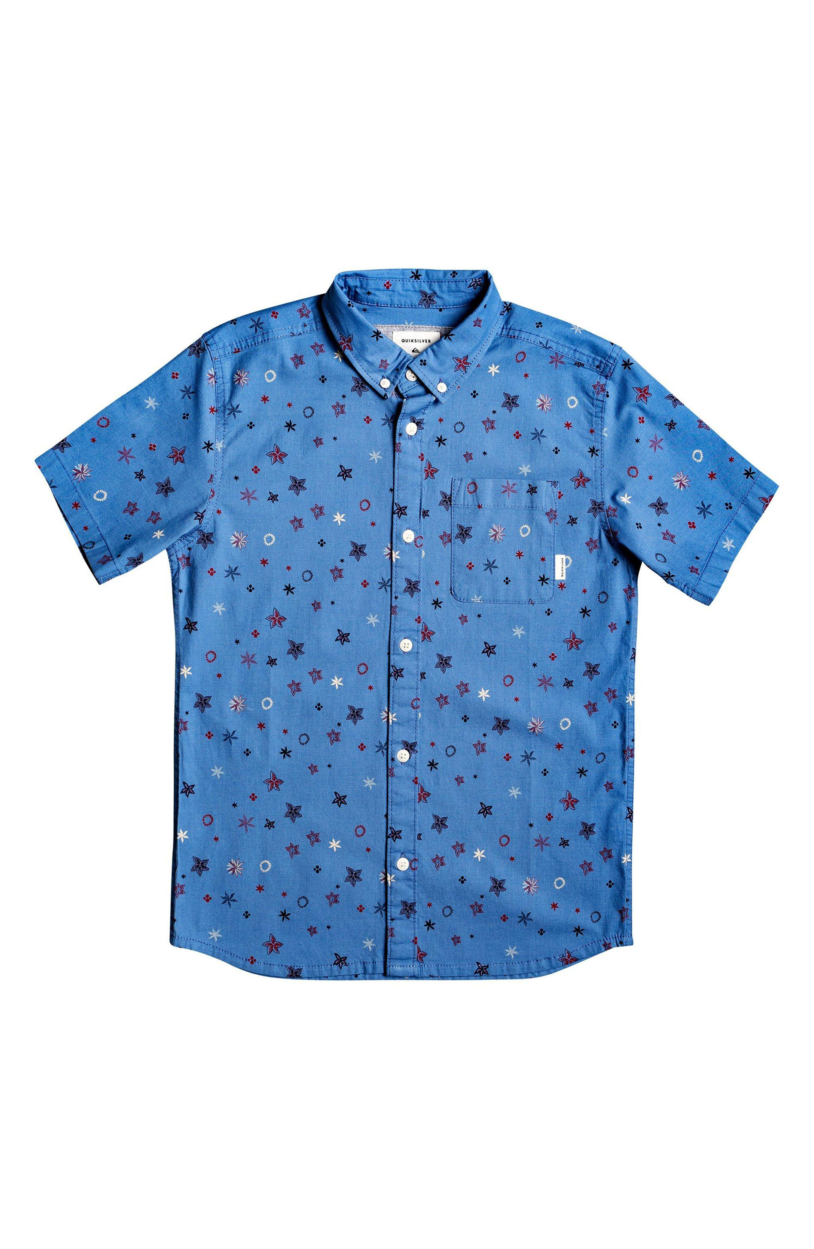 Boys Quiksilver Ditsy Print ButtonDown Shirt Size XL (16)  Blue