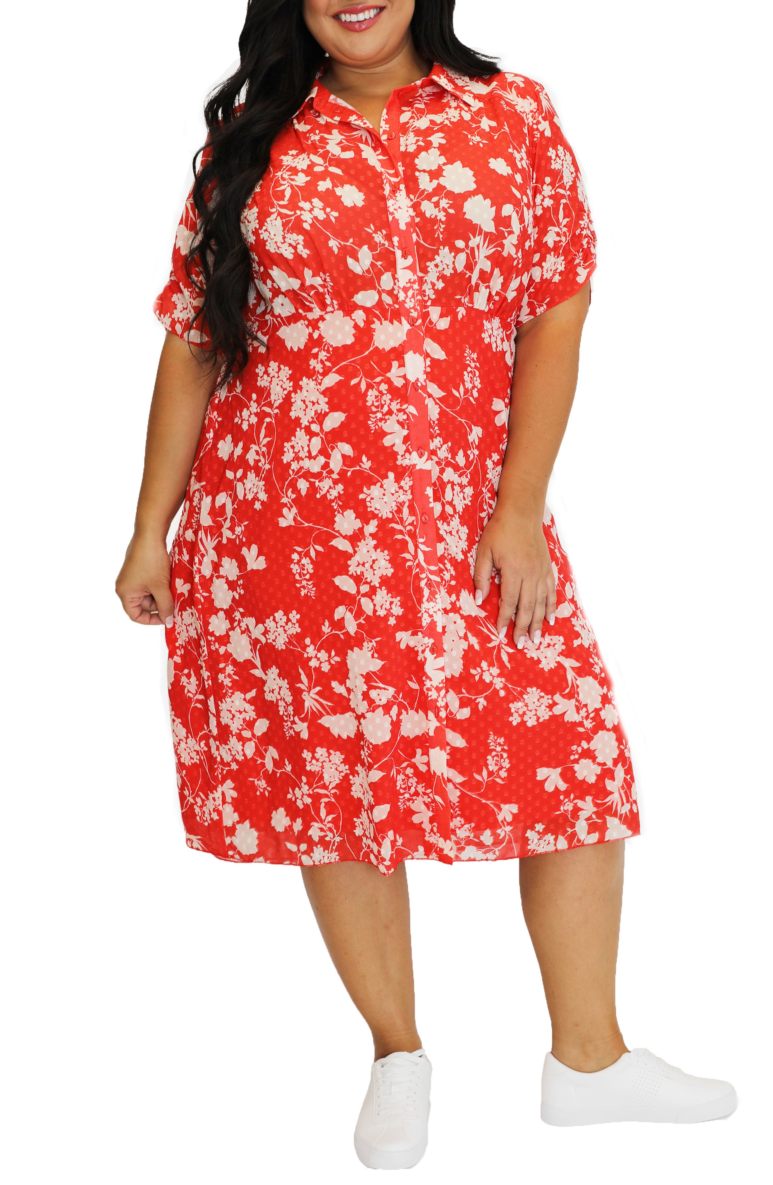 Floral Dot Jacquard Midi Shirtdress