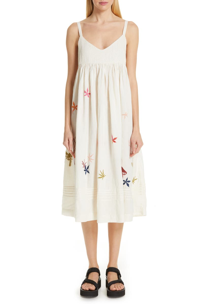STORY MFG. Daisy Midi Dress, Main, color, STRANGE TRIP