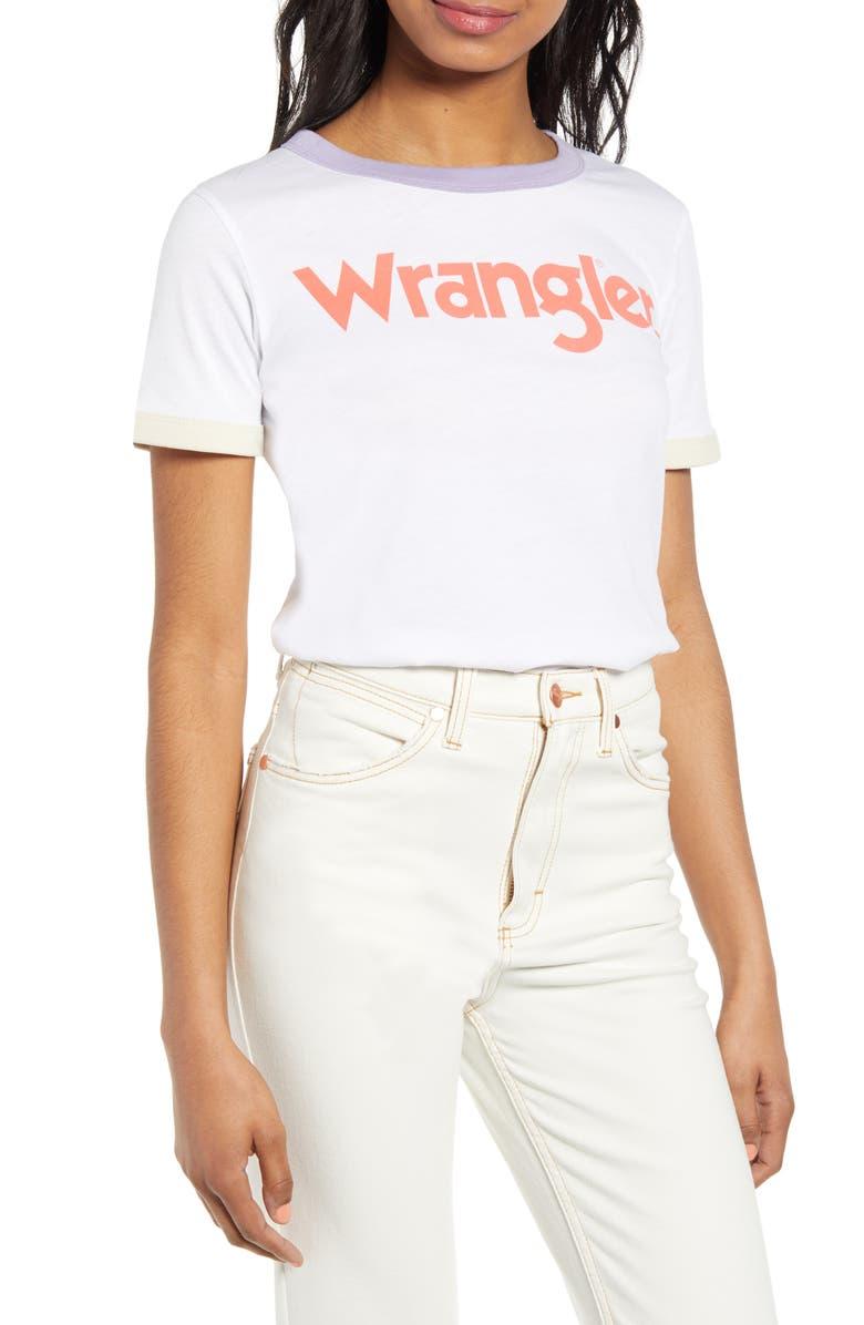WRANGLER Logo Ringer Tee, Main, color, WHITE