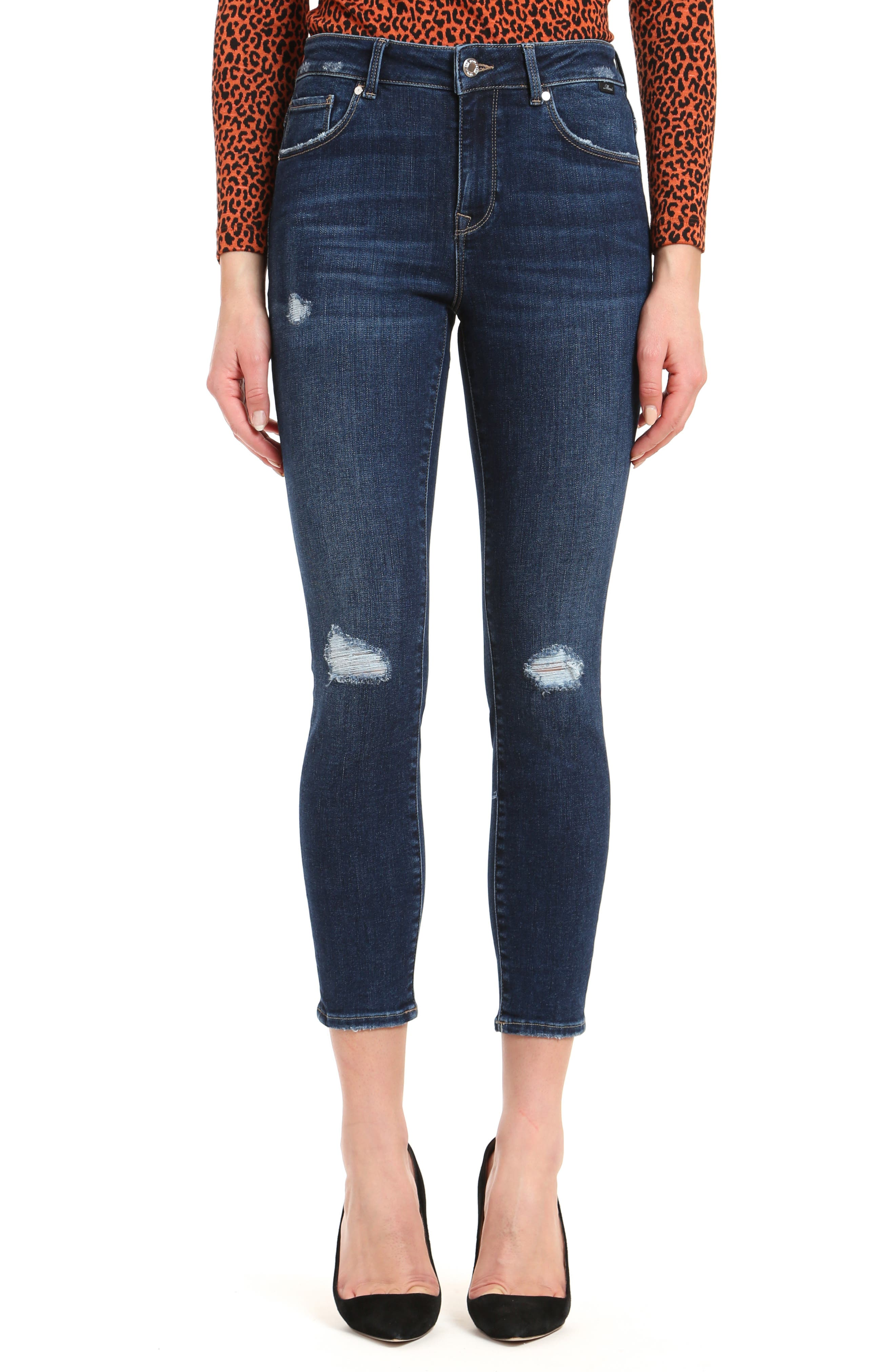 Made from incredibly soft denim with just-right stretch, these distressed skinny jeans are meant to be worn a few times before washing. Style Name: Mavi Jeans Tess Ripped High Waist Ankle Skinny Jeans (Organic Blue). Style Number: 6124860. Available in stores.