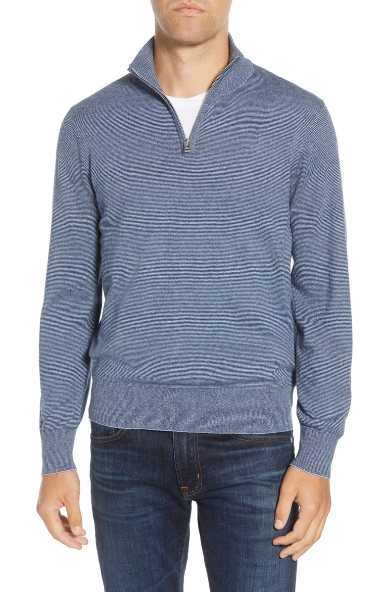 Slim Fit Cotton & Cashmere Quarter Zip Pullover by Bonobos