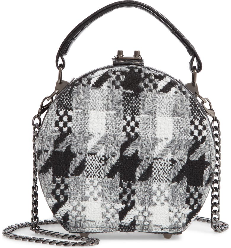SONDRA ROBERTS Tweed Canteen Crossbody Bag, Main, color, BLACK