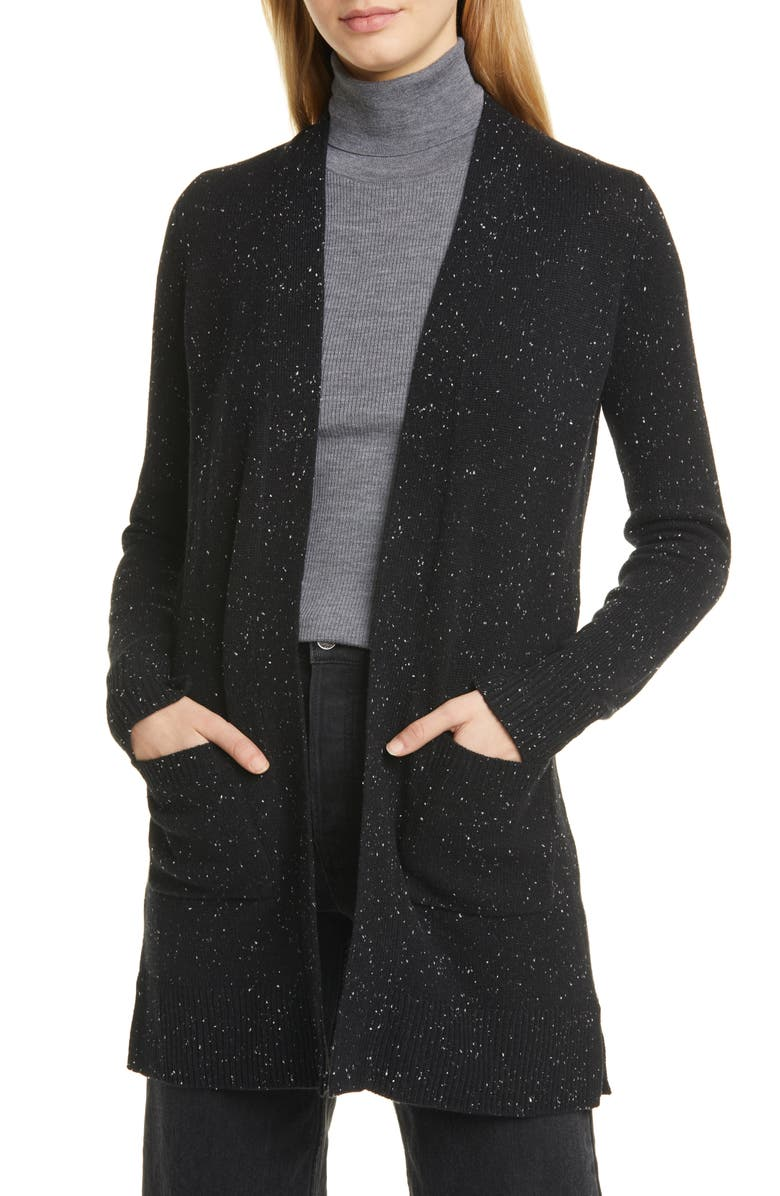 THEORY Donegal Open Front Cashmere Cardigan, Main, color, 001