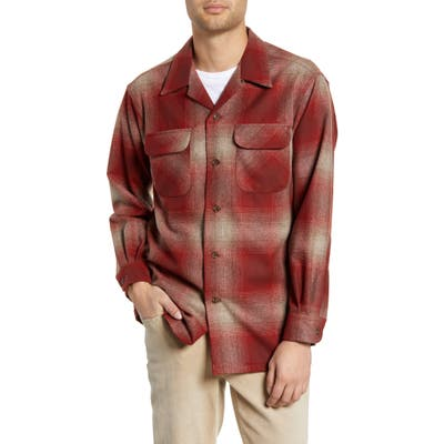 Pendleton Board Wool Flannel Shirt, Red