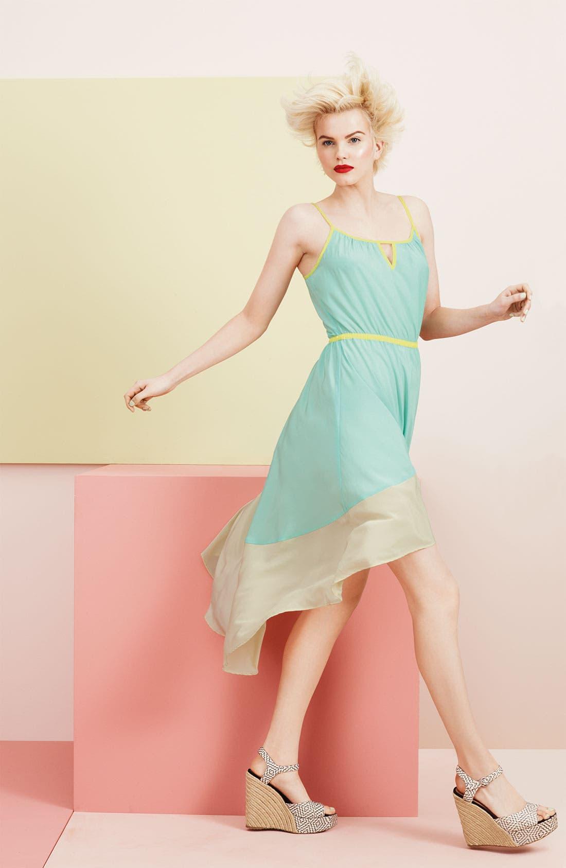 ,                             Colorblock Asymmetrical Hem Dress,                             Alternate thumbnail 4, color,                             400