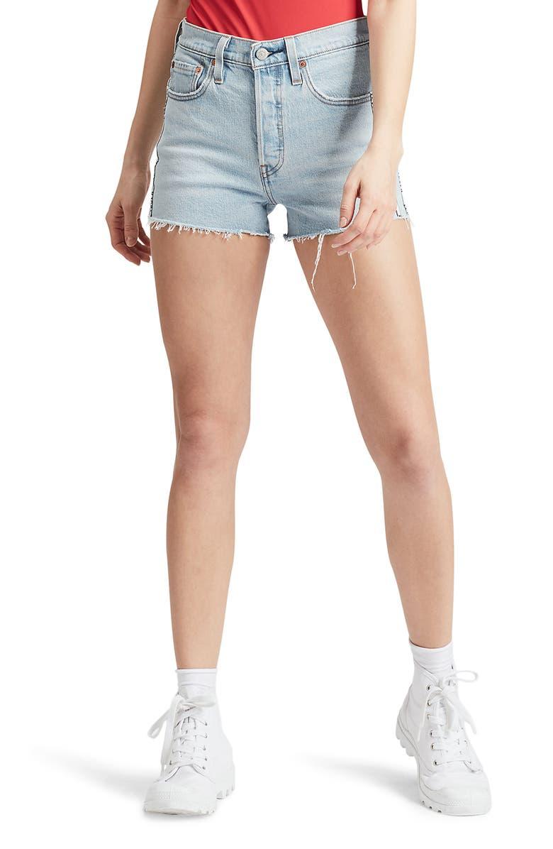 LEVI'S<SUP>®</SUP> 501<sup>®</sup> High Waist Cutoff Denim Shorts, Main, color, 450