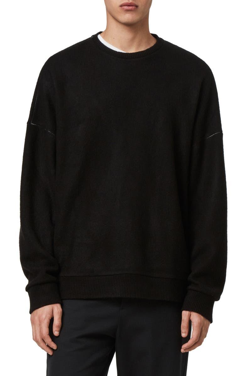 ALLSAINTS Warren Oversize Crewneck Sweater, Main, color, BLACK MARL
