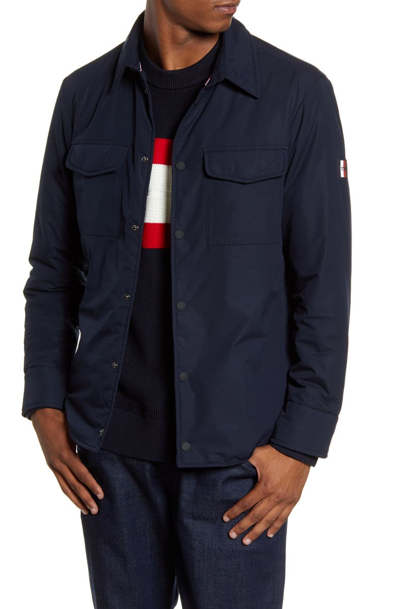 TOMMY HILFIGER Padded Snap-Up Shirt Jacket, Main, color, BLUE