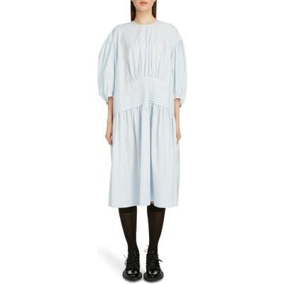 Simone Rocha Pintuck Pleat Cotton Poplin Midi Dress, US / 6 UK - Blue