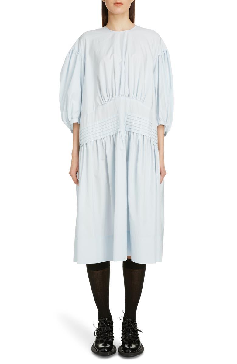 SIMONE ROCHA Pintuck Pleat Cotton Poplin Midi Dress, Main, color, BLUE