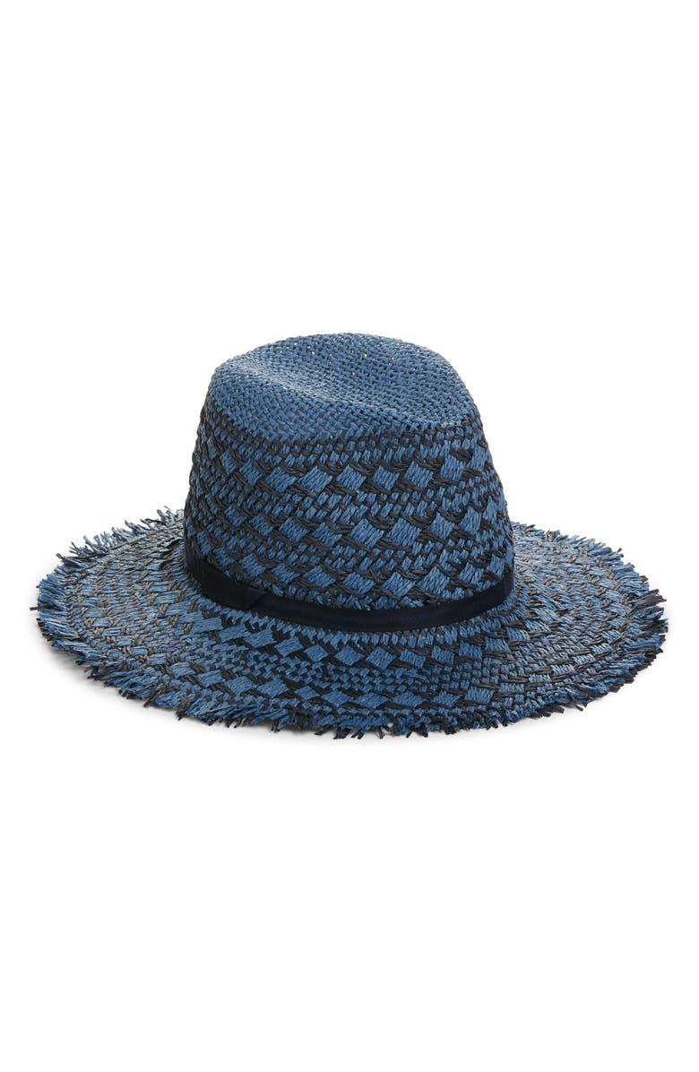 TREASURE & BOND Frayed Pattern Panama Hat, Main, color, BLUE COMBO