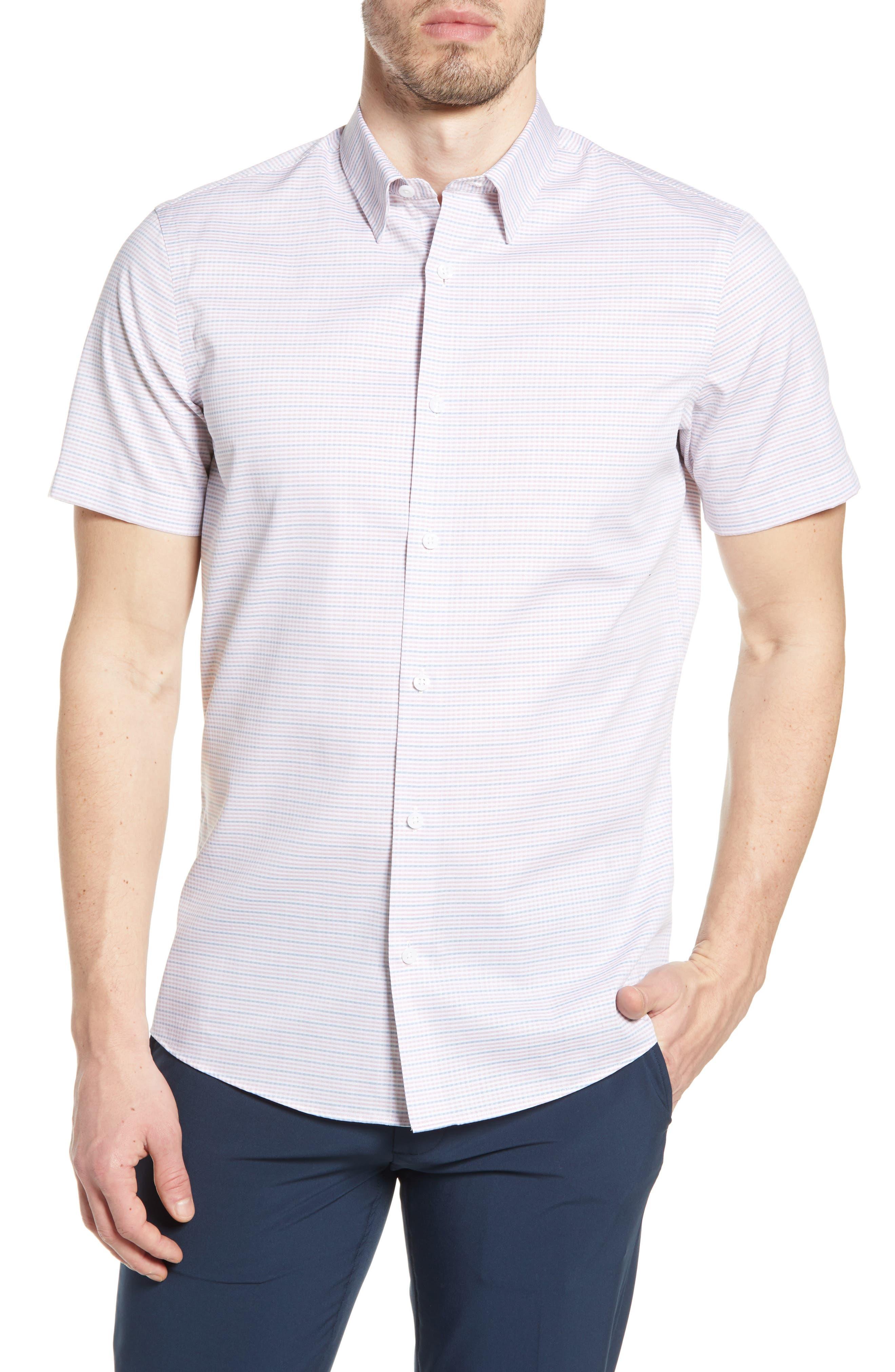 Image of NORDSTROM MEN'S SHOP Trim Fit Plaid Short Sleeve Button-Up Shirt