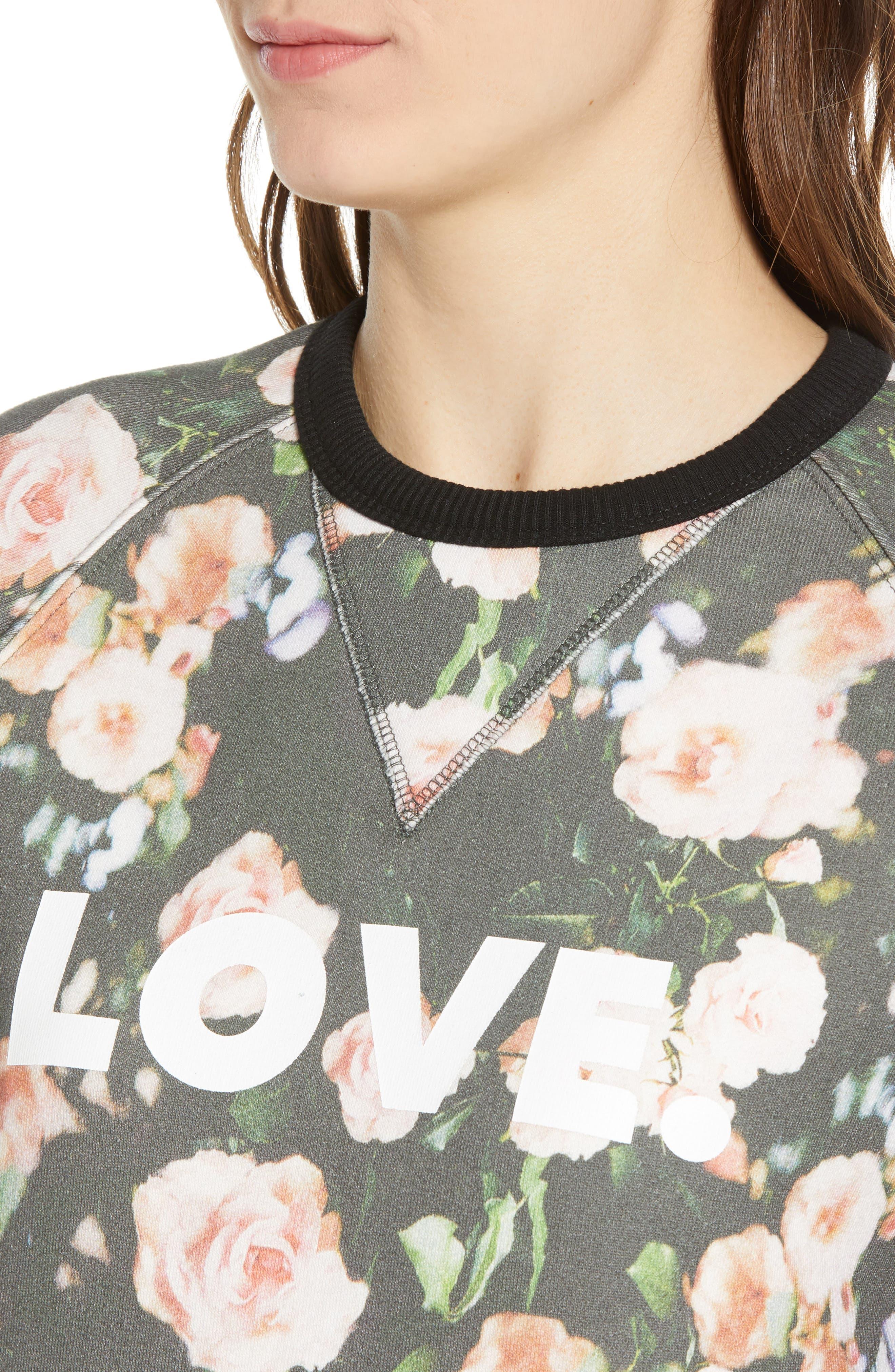 ,                             Love Roses Sweatshirt,                             Alternate thumbnail 4, color,                             BLACK MULTI