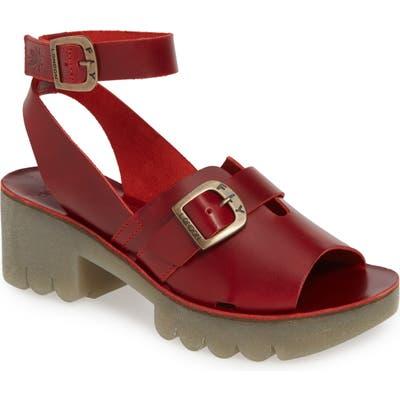 Fly London Cano Platform Sandal, Red