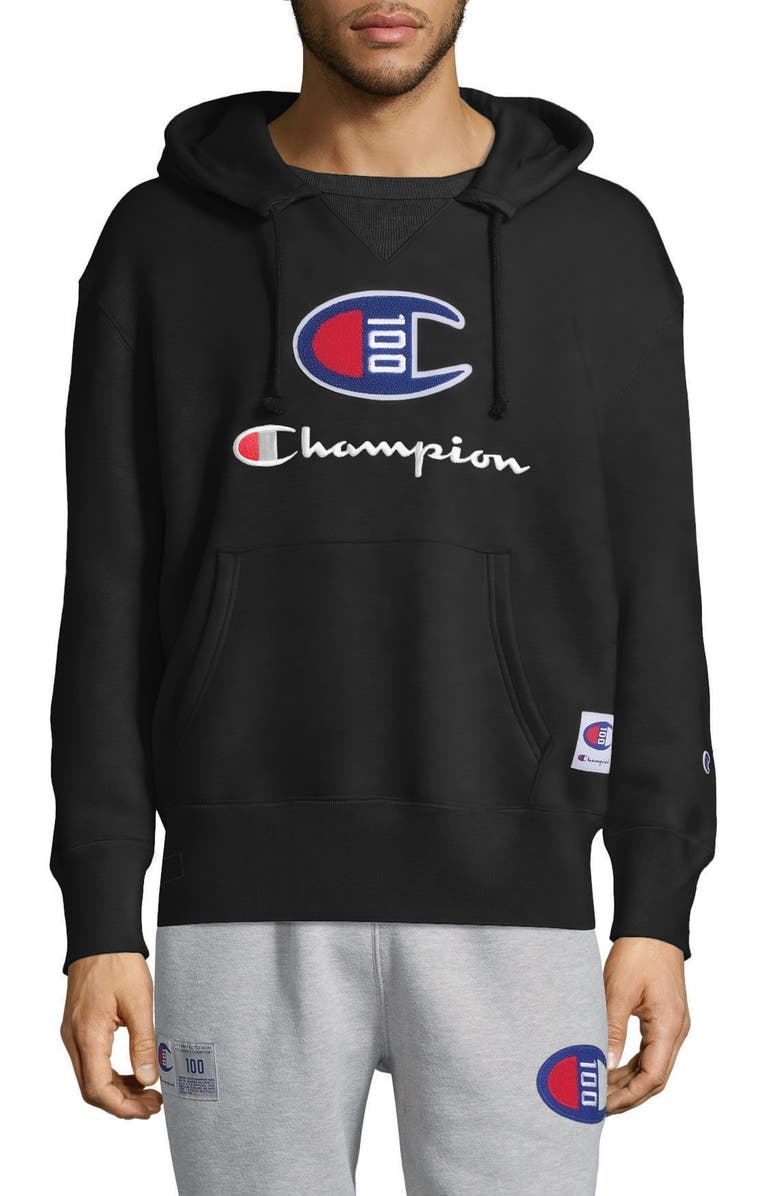 CHAMPION Century Collection Logo Pullover Hoodie, Main, color, BLACK