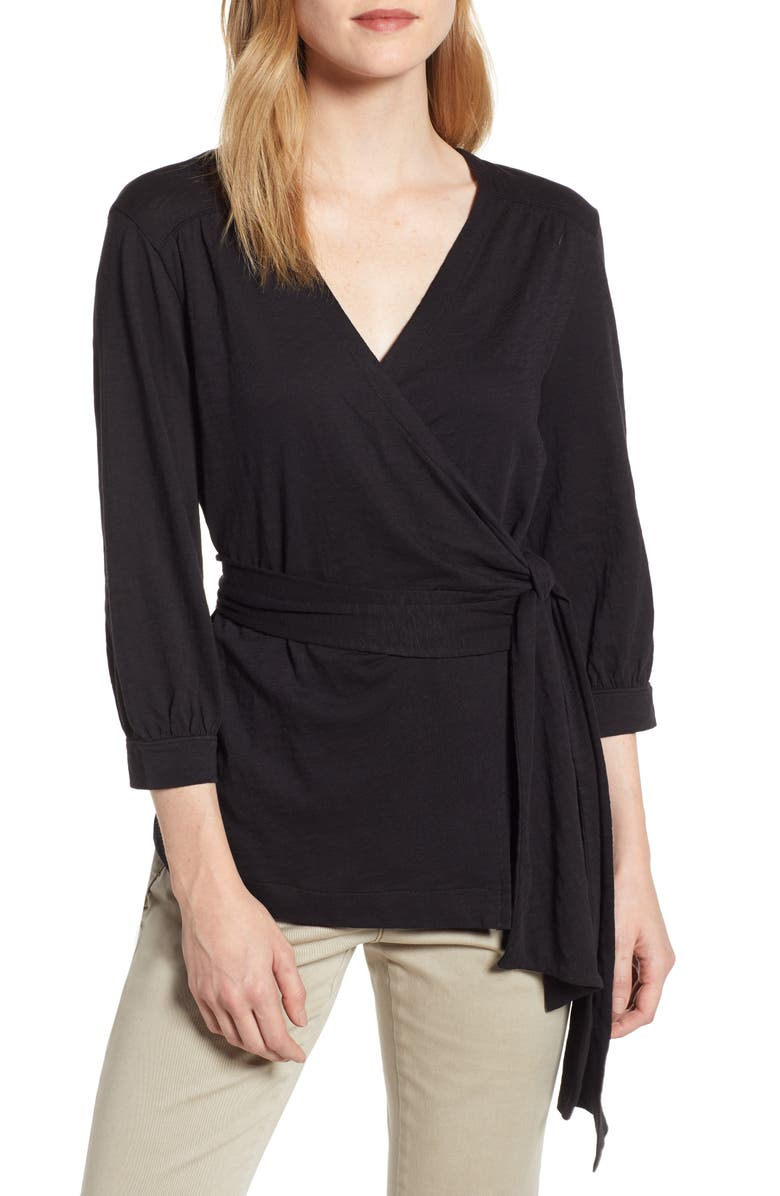 CASLON<SUP>®</SUP> Jersey Wrap Top, Main, color, 001