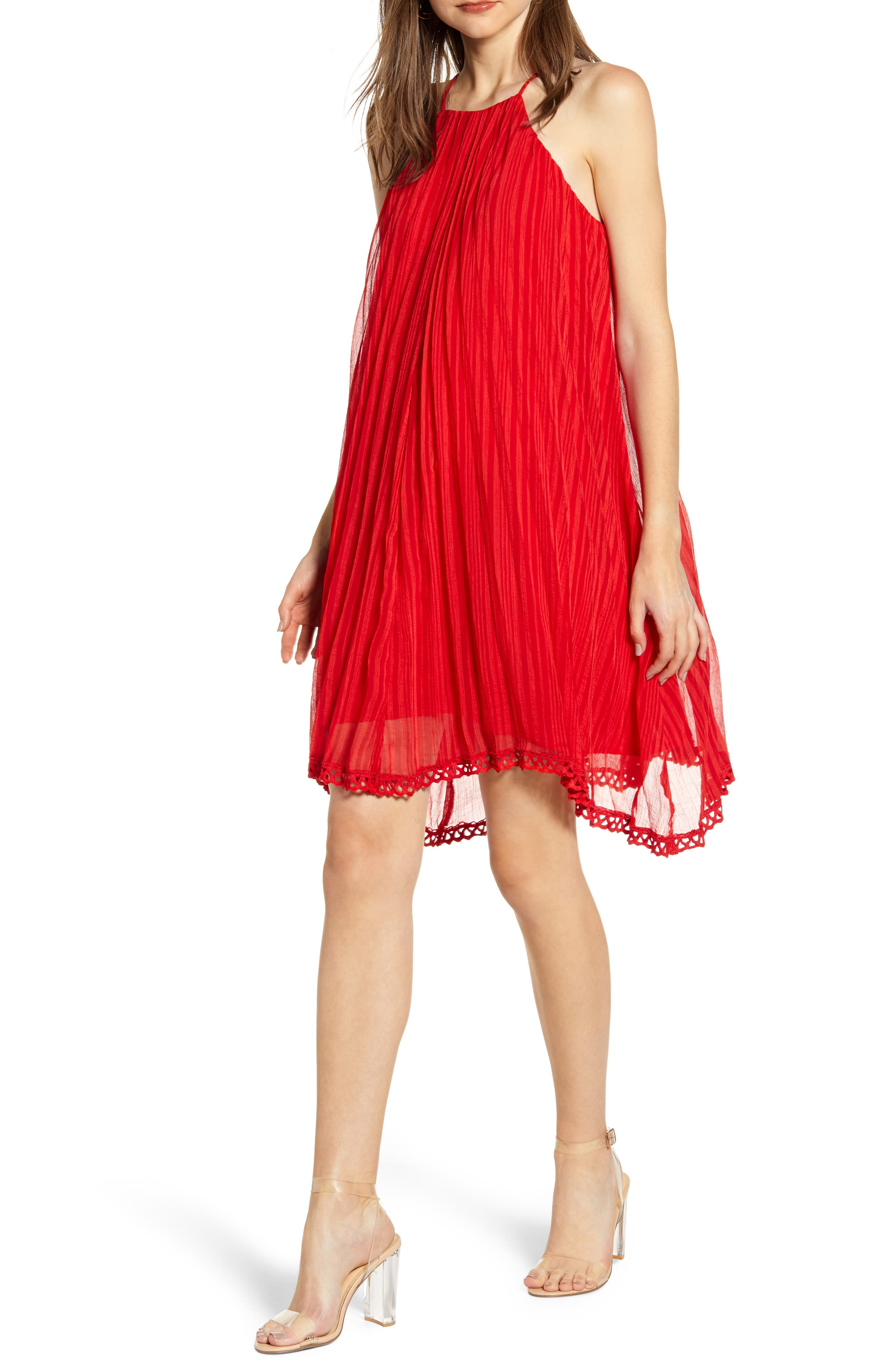 Endless Rose Pleated Sleeveless Shift Dress, Red