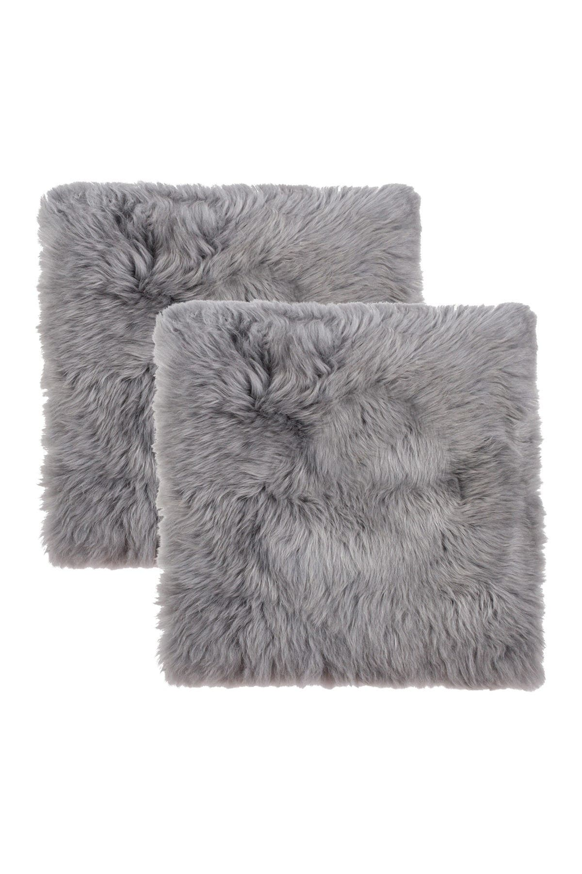 """Image of Natural New Zealand Genuine Sheepskin Shearling Chair Seat Pad - Set of 2 - 17"""" x 17"""" - Grey"""