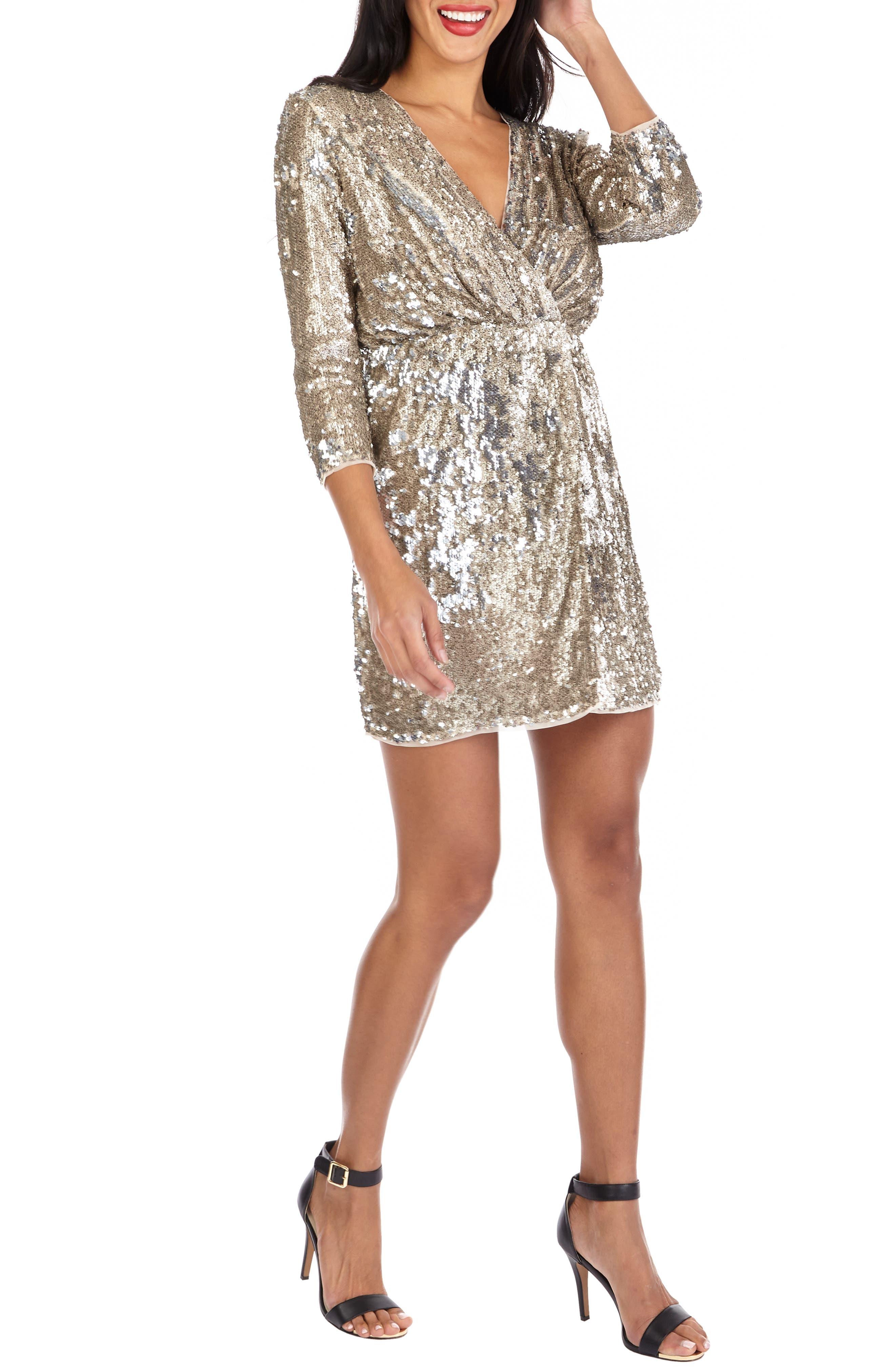 Venezia Sequin Surplice Dress, Main, color, GOLD/ SILVER
